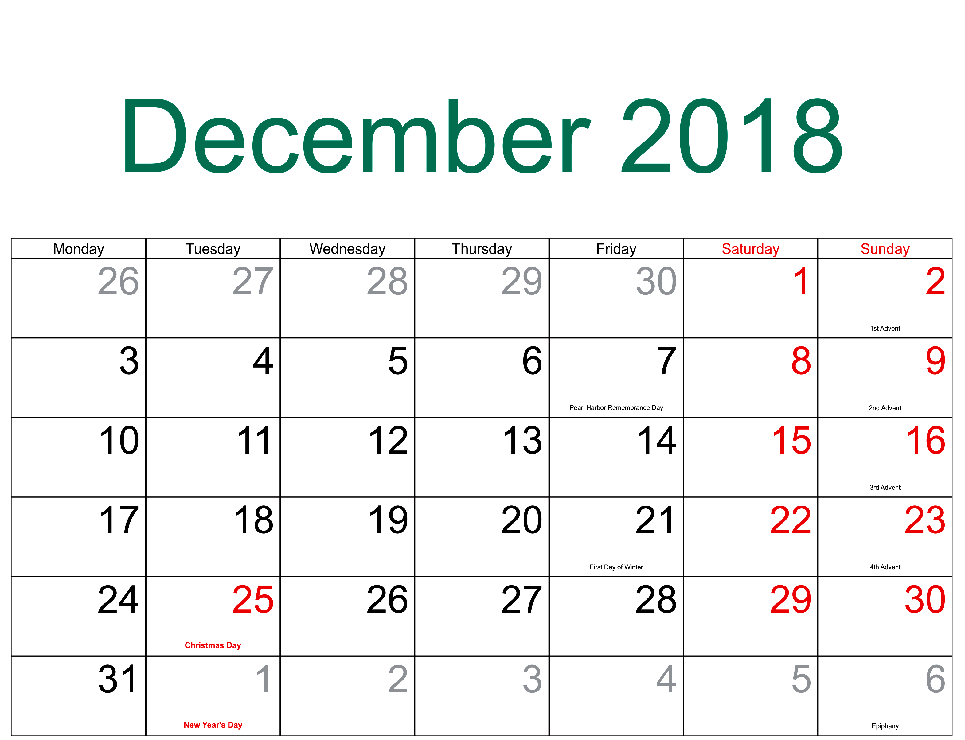 december 2018 calendar with holidays printable
