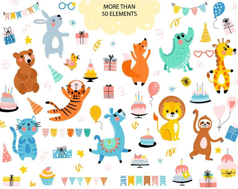Woodland Animals Clipart Happy Birthday Party Decorations Etsy In 2021 Funny Birthday Cards Happy Birthday Party Decorations Birthday Party Clipart