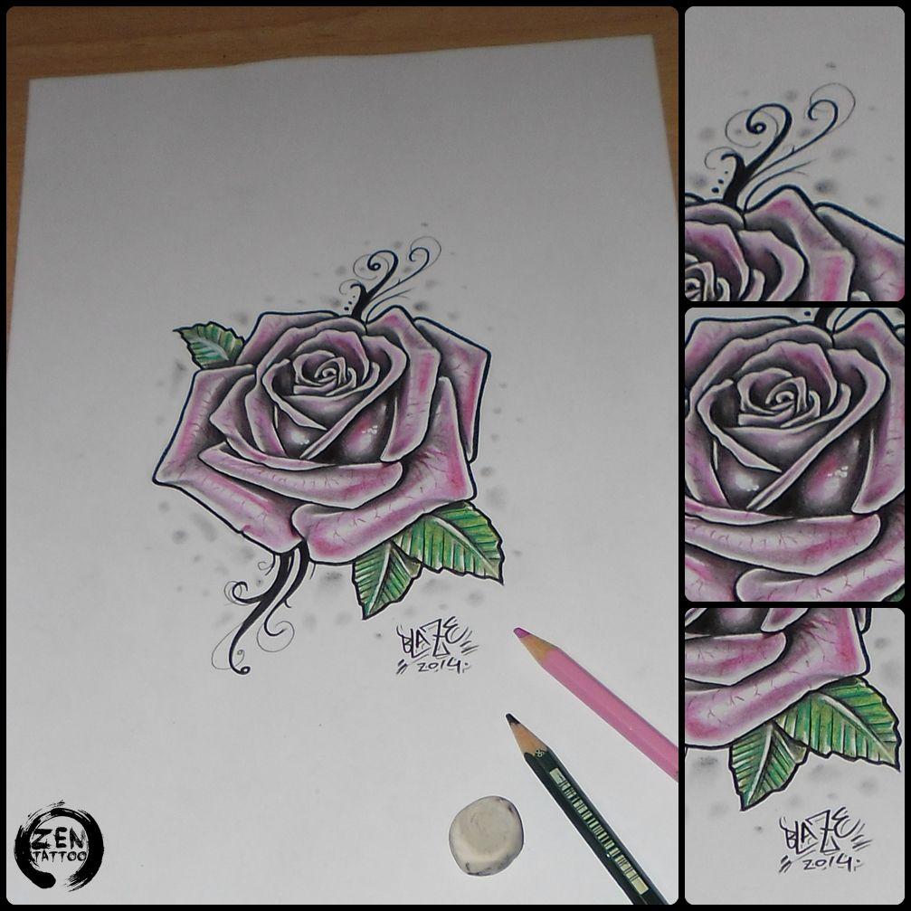 Pink rose; pencil drawing by Blaze  www.facebook.com/zentattoozagreb