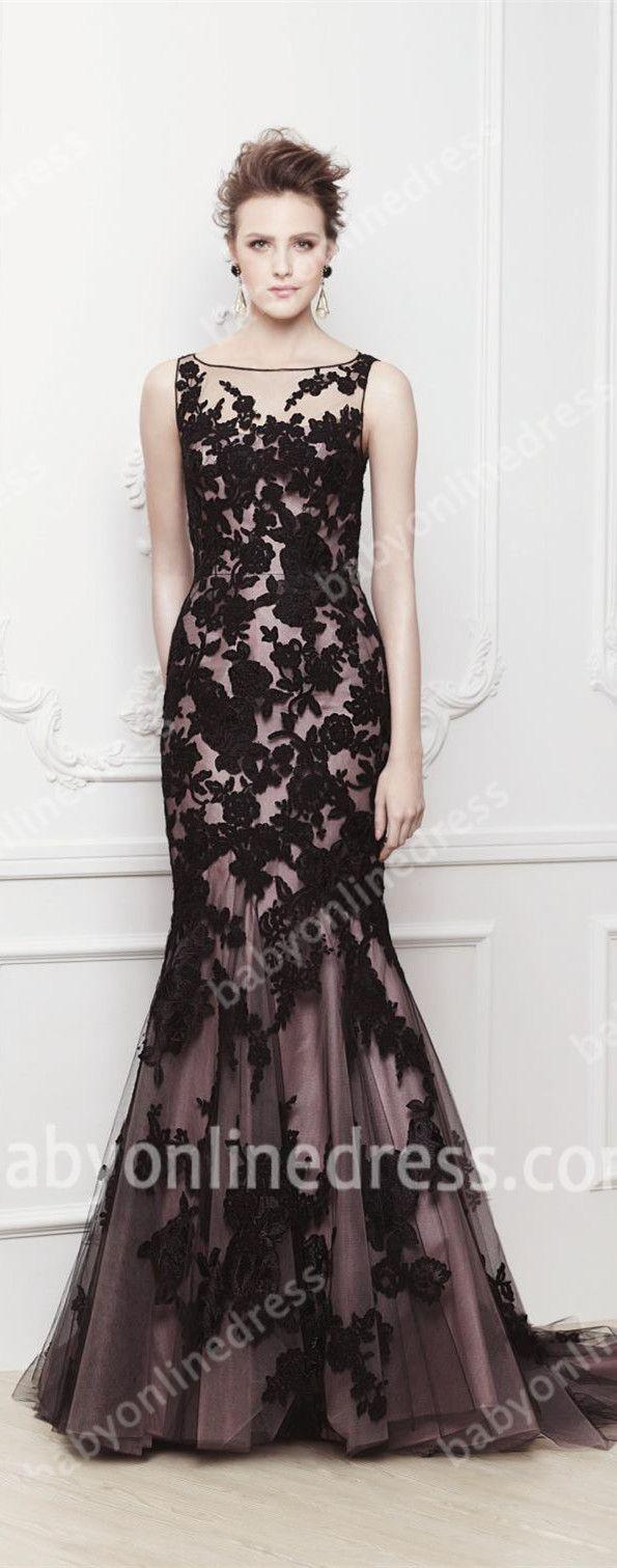 New crystal prom dress scoop sleeve black mermaid beaded lace