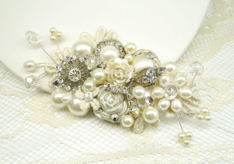 Ivory Bridal Hair Comb Ivory Clip Rhinestoneu Pearls Vintage Hair