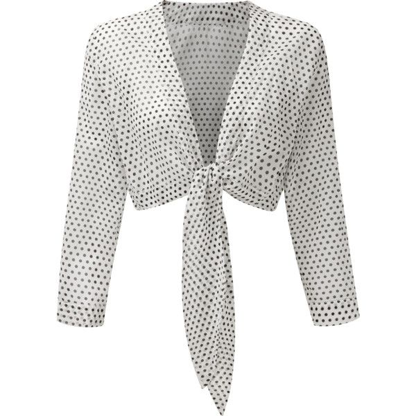 WHITE POLKA DOT TIE BLOUSE (1105 TND) ❤ liked on Polyvore featuring tops, blouses, dot blouse, tie top, dot top, tie-neck blouses and white tie-neck blouses