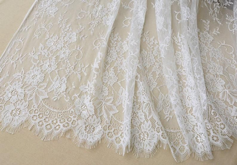 Off white vory Chantilly lace fabric French chantilly | Etsy