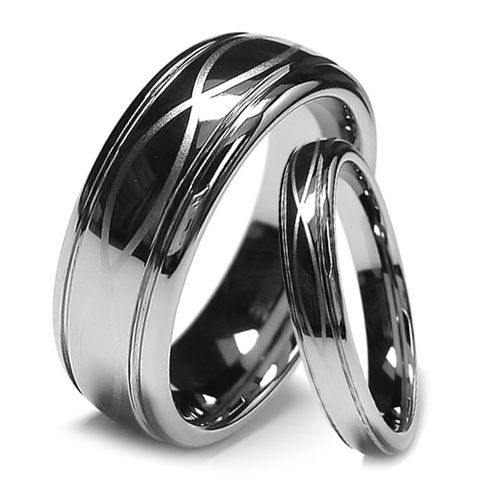 Tungsten Wedding Band Set Infinity Ring Chrome High Polish Finish 8mm And 6mm Direct