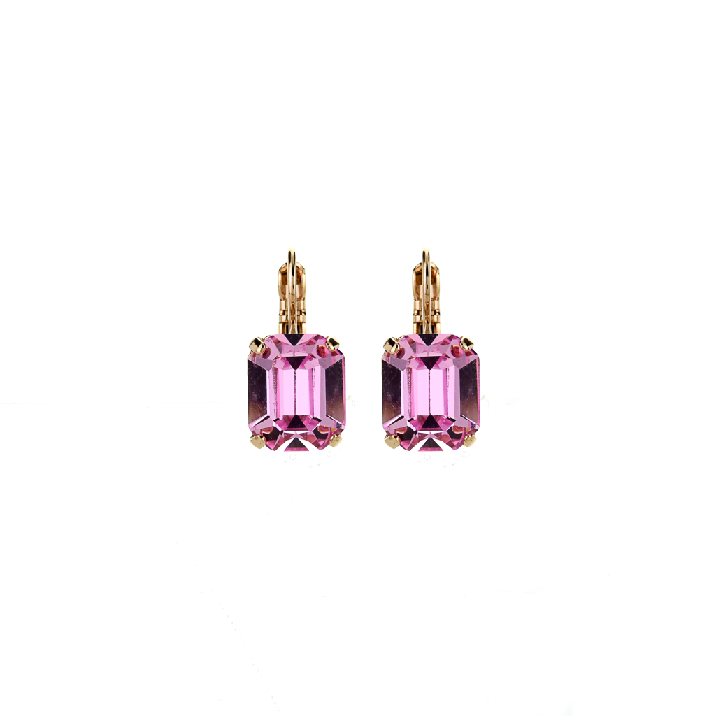 Photo of Emerald Cut Leverback Earrings in Light Rose *Preorder* – Yellow Gold