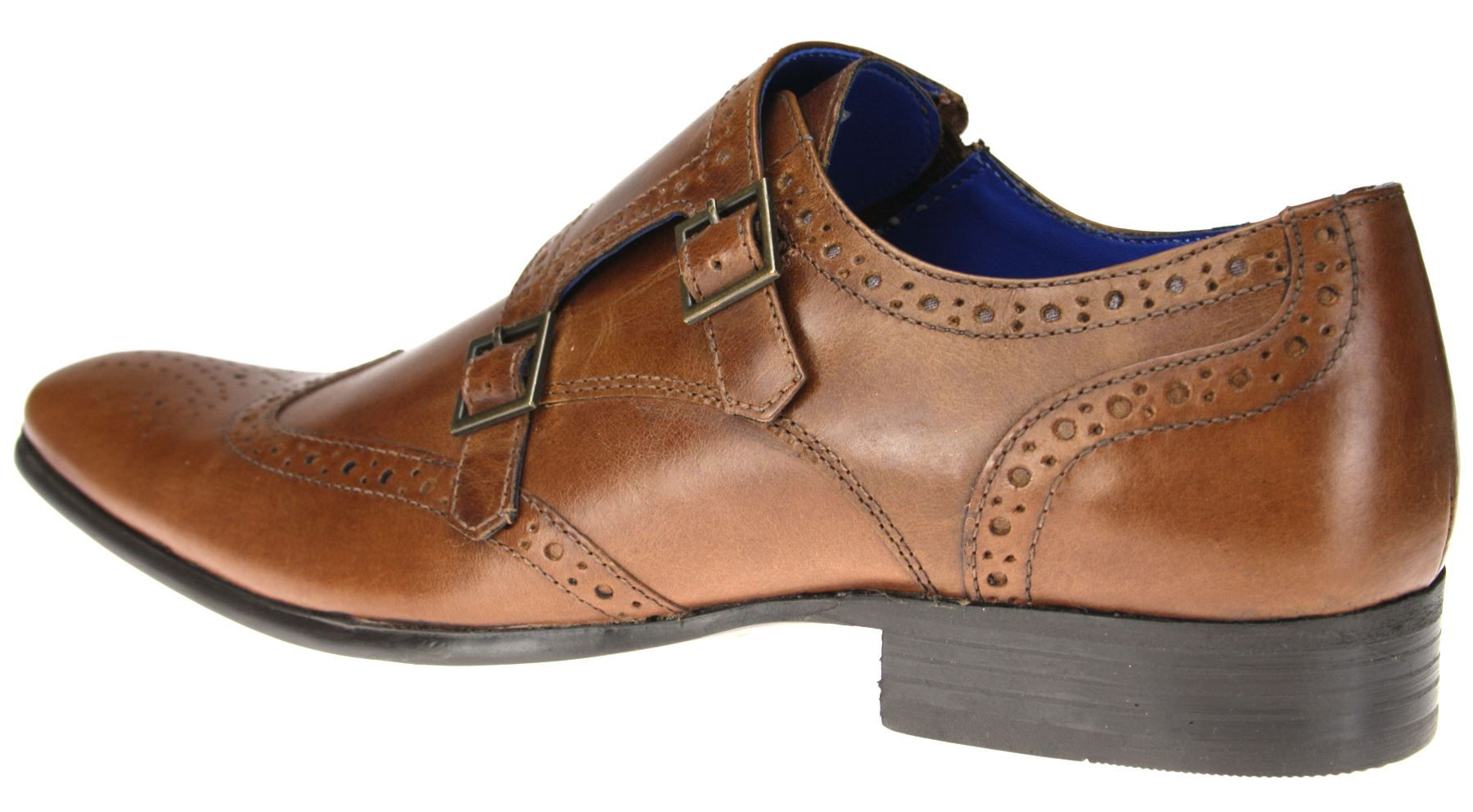 Brogue double monk buckle formal shoes
