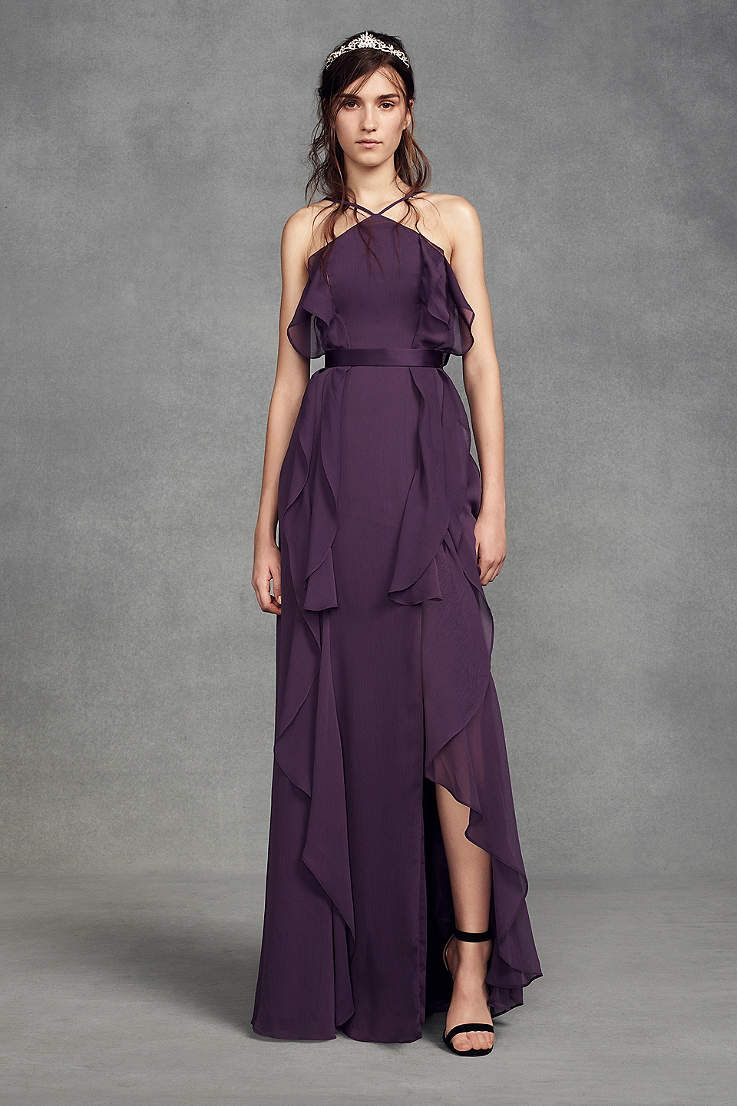 View simple halter high neck bridesmaid dress at davidus bridal