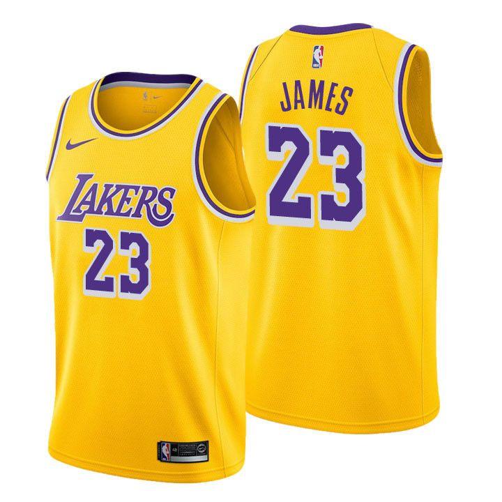 LeBron James Los Angeles Lakers LA #23 NBA Gold Yellow Jersey ...