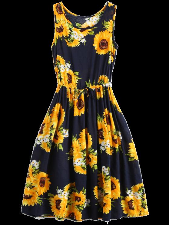 Sleeveless Drawstring Waist Sunflower Dress Sunflower