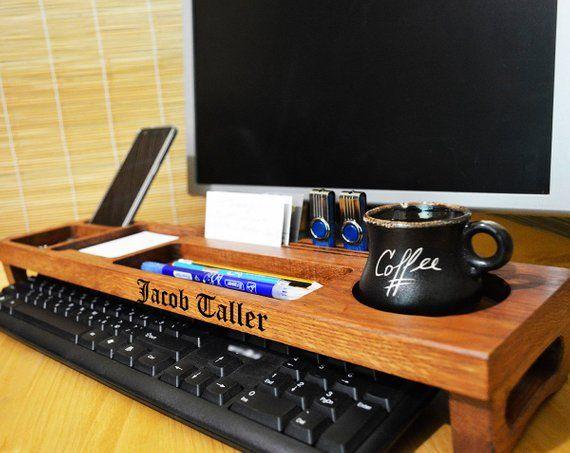 Wood Anniversary Gift For Him Wooden Desk Organizer