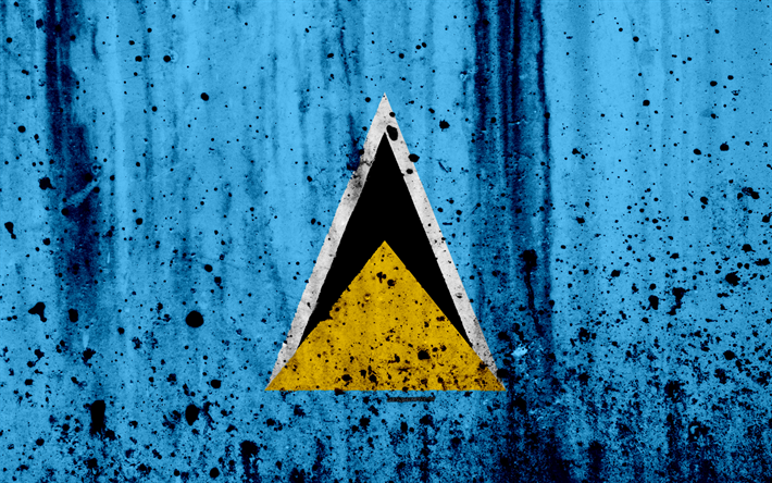 Download Wallpapers Saint Lucia Flag 4k Grunge North America Flag Of Saint Lucia National Symbols Coat Of Arms Of Saint Lucia Saint Lucia National Emblem St Lucia Flag North America Flag