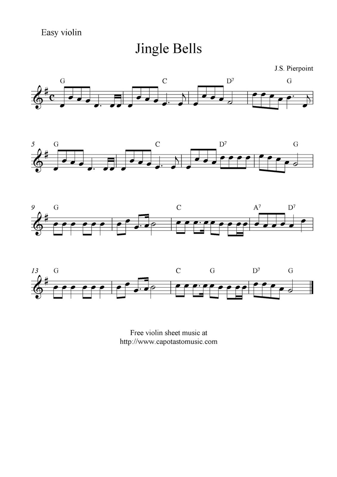 Free Sheet Music Scores Jingle Bells, free Christmas