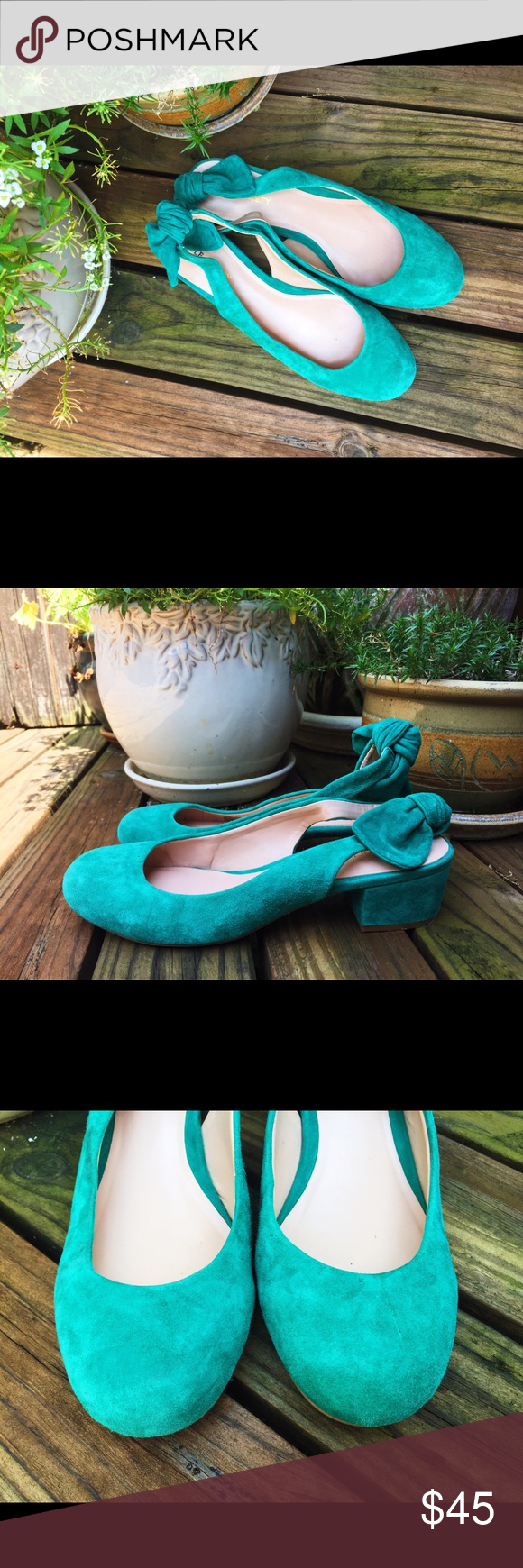 Sole Society Suede Loafers 100% Suede seafoam green loafers with chunky heel from Sole Society! Bow detail on strap in the back. Lightly worn! Sole Society Shoes Flats & Loafers