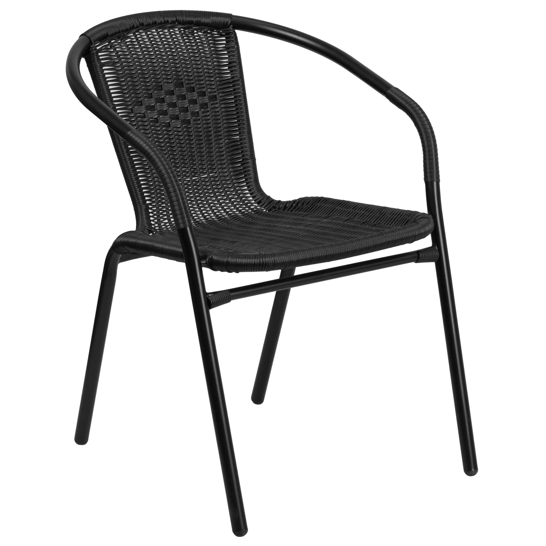 Flash Furniture Rattan Indoor Outdoor Restaurant Stack Chair (Black, Gray)