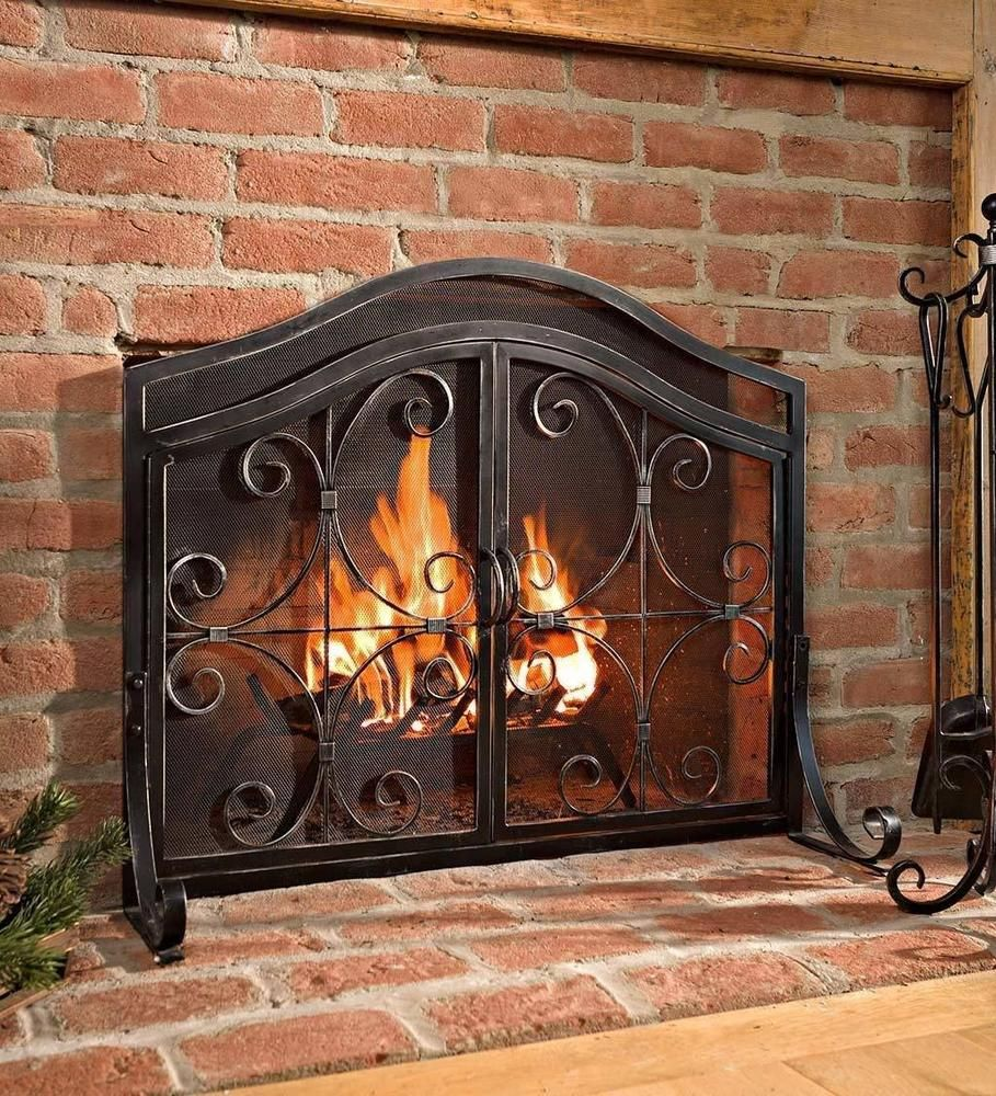 Small Fireplace Screen With Door Black Fire Guard Wrought