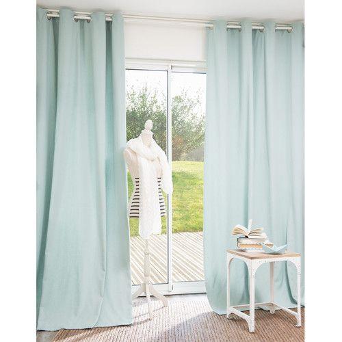 Cortina con ojales de algodón azul pastel 140x250 Deco hogar - cortinas azules