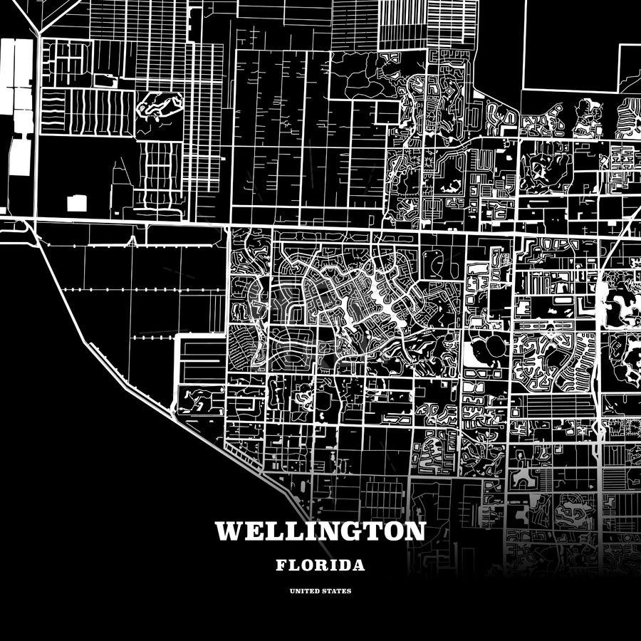 Map Of Wellington Florida.Black Map Poster Template Of Wellington Florida Usa Maps Vector