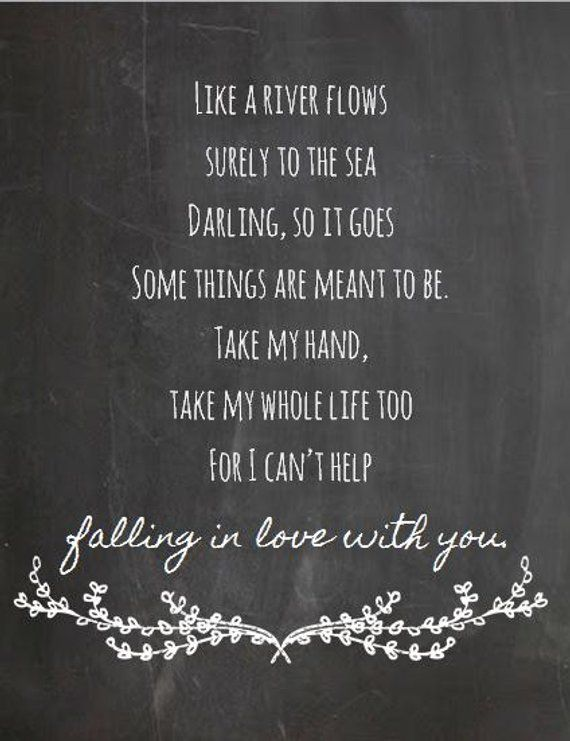 Elvis Presley I Can T Help Falling In Love With You Chalkboard Style Print 8x10 Music And Lyrics Print Wedding Gift Citation Et Instagram