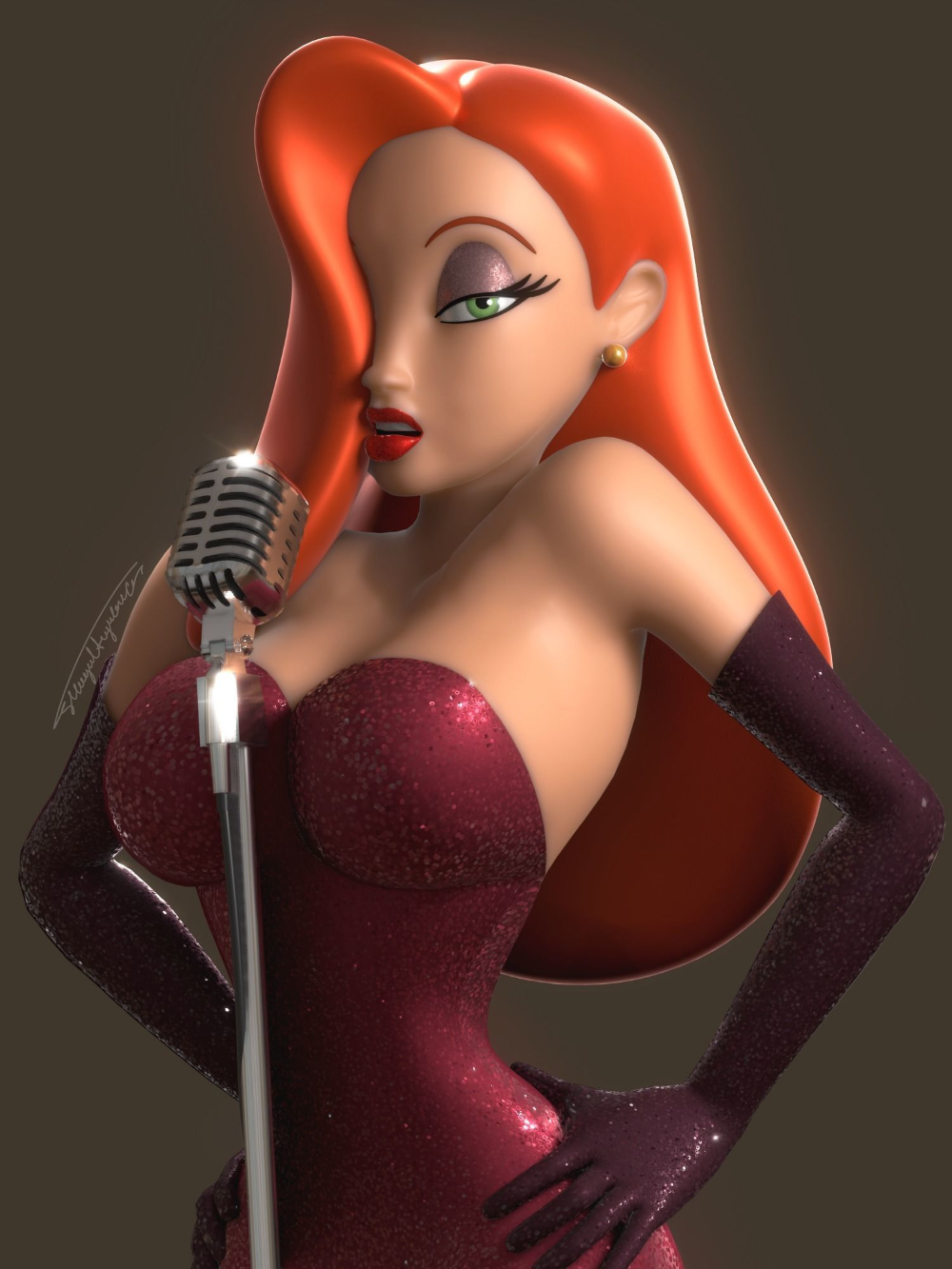 Jessica Rabbit Rigged 3d Model Jessica Rabbit Character Rigging Jessica
