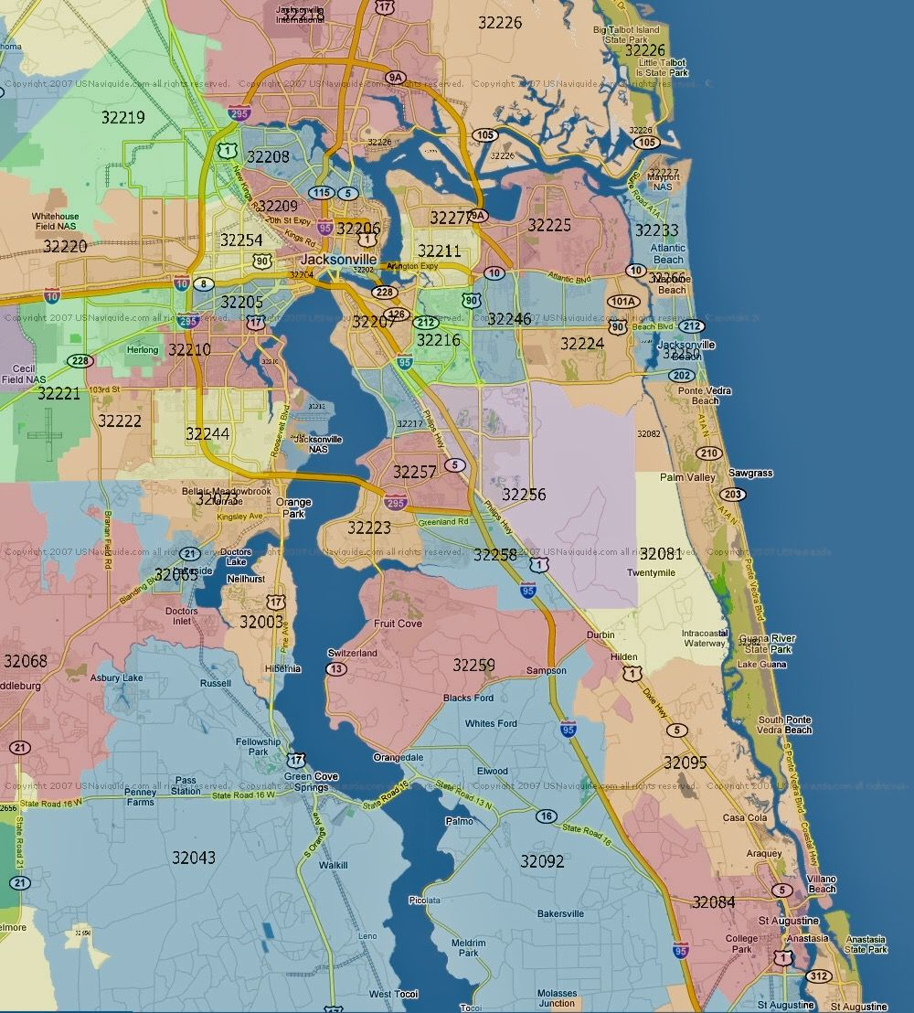 Jacksonville Zip Code Map Pin by Armand Rapollari on Jacksonville, FL   Zip code map, Map