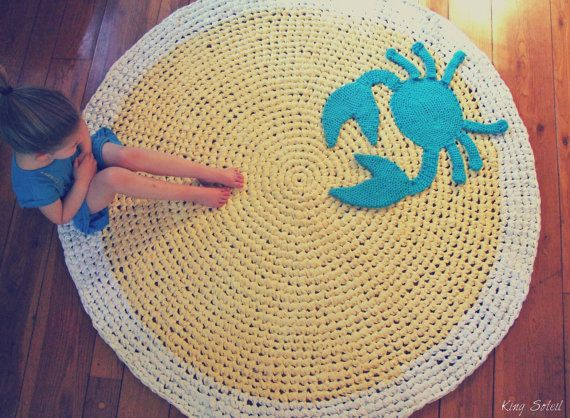 Crochet crab rug yellow blue and white cotton round by for Round rugs for kids