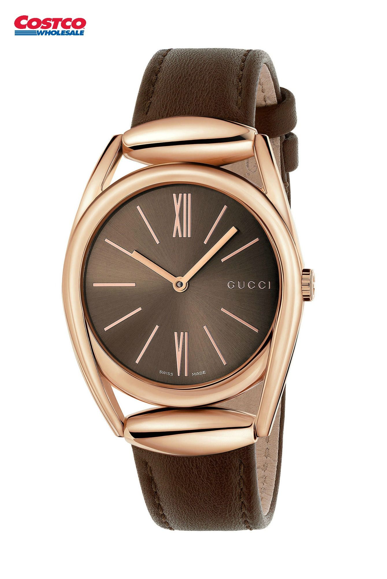 b4397e70d7f Gucci Rose Gold PVD Stainless Steel Case and Brown Leather Strap Men s Watch