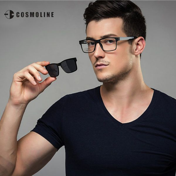 COSMOLINE Fashion Glasses Frame For Men Men Clip on Sunglasses Magnetic  Clip on Dual Purpose Polarized