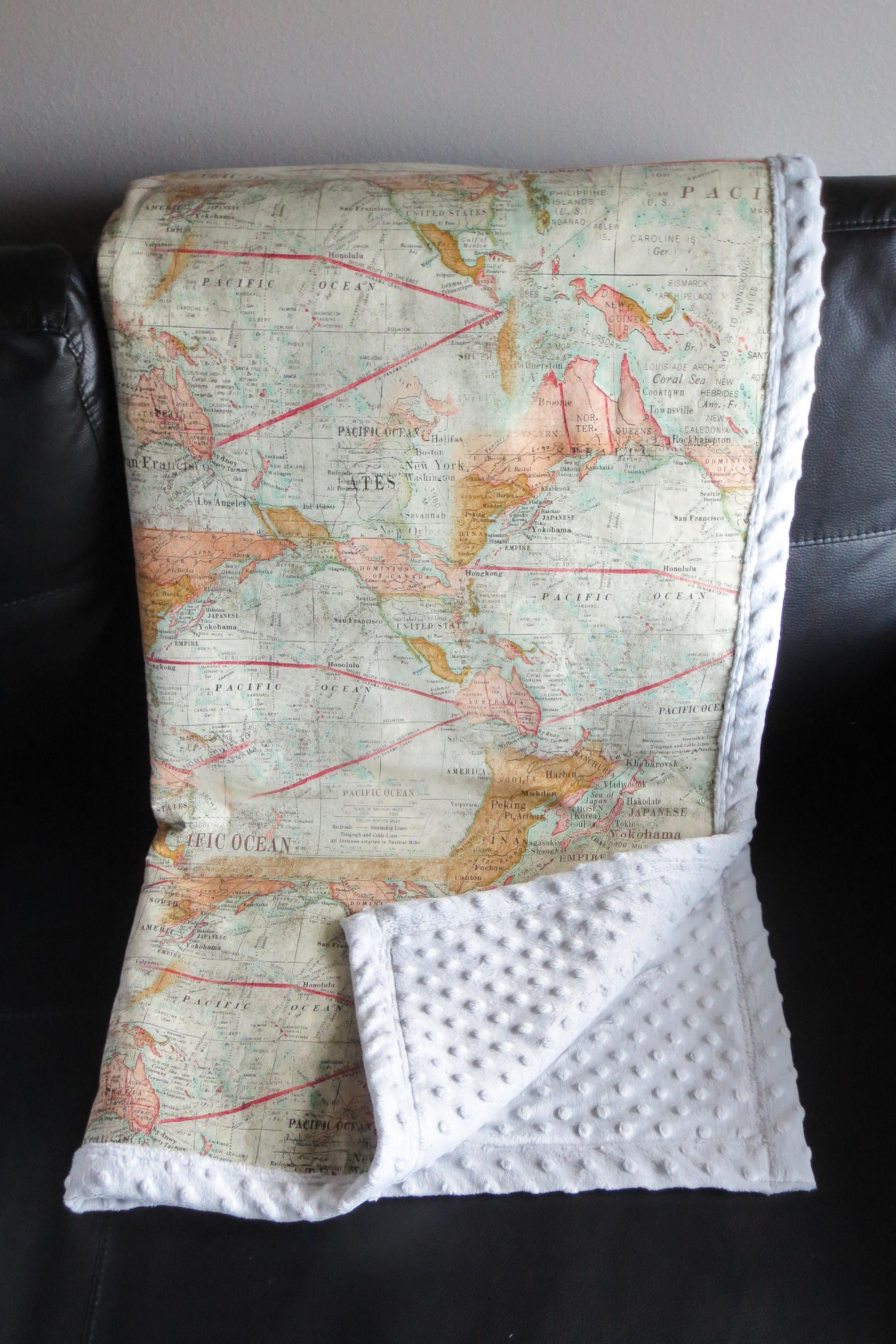 Map minky baby blanket gender neutral baby world map blanket map minky baby blanket gender neutral baby world map blanket travel theme blanket gumiabroncs Images