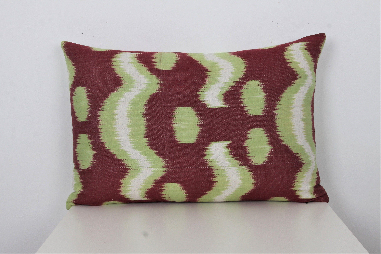 """Velvet Ikat Pillow Cushion Cover Green Black Pillow Case 16/""""x24/"""" 40x60 cm"""