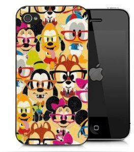 b06a5dddd42 Amazon.com: Disney Mickey Mouse and Friends nerdy iPhone 4 / iPhone 4S  Black Designer Shell Hard Case Cover Protector Gift Idea: Cell Phones &  Accessories