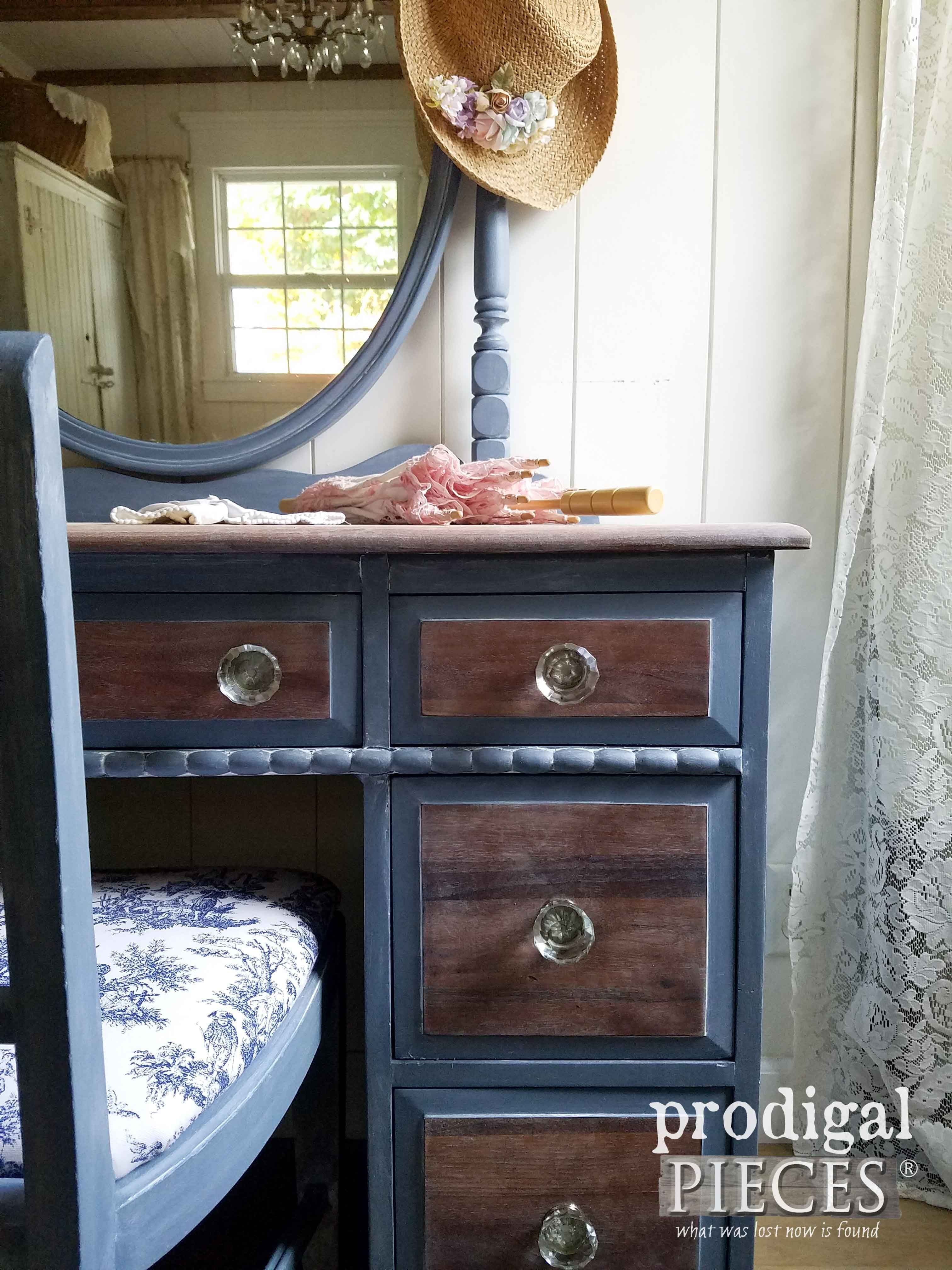 Vintage vanity with french country cottage style blue vanity