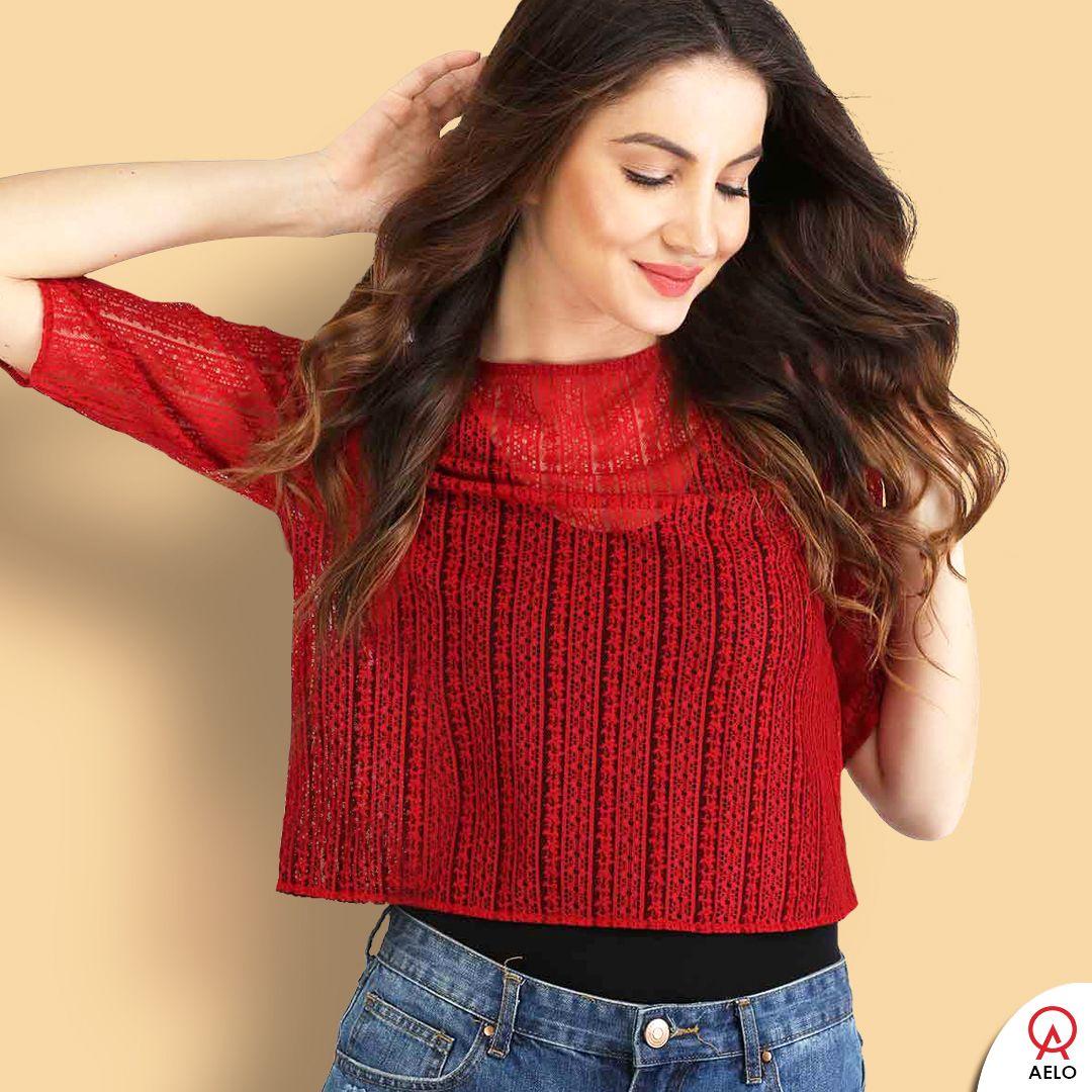 94f40727da5 Red net crop top for women - #red #top #girls #girl #women #aelo #croptop  #fashion #style #stylish