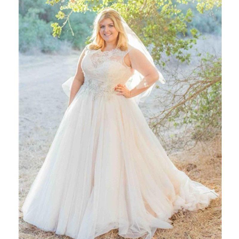 Plus Size Ball Gown Wedding Dresses Tulle 2017 Garden Bridal Corset Modern Bridal Custom Made Applique Sheer Crystal Draped