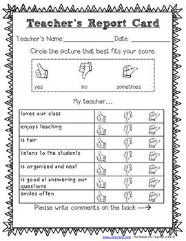 Teacher Report Card For Elementary Students Free  Misc School
