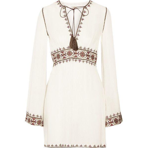 Talitha Columba embroidered gauze mini dress (£465) ❤ liked on Polyvore featuring dresses, vestidos, short dresses, robes, long white dress, short white dresses, white gauze dress, boho dress and long bohemian dresses