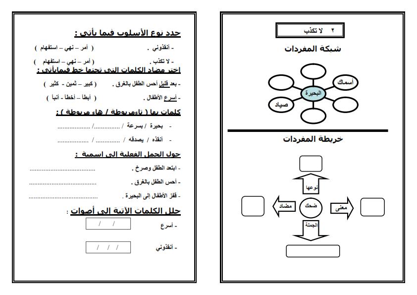 اوراق عمل لتطبق استراتيجيات القرائية على دروس لغة عربية الصف الثاني الابتدائي الترم الثاني Arabic Lessons Learning Arabic Arabic Langauge