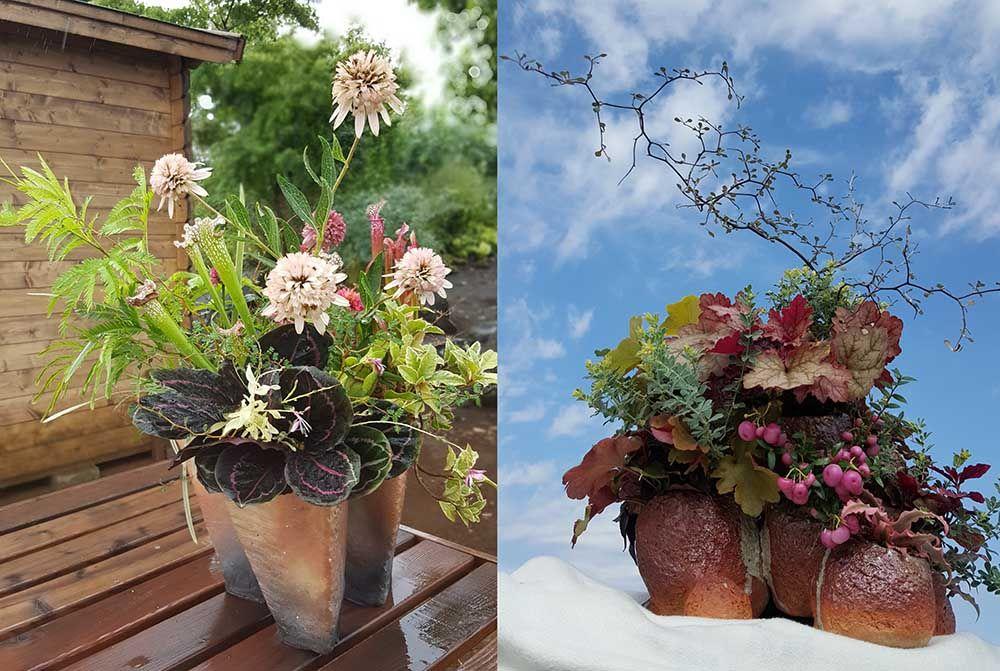 庭に個性をプラス 陶芸家が創作する植木鉢と 寄せ植え植物 園芸