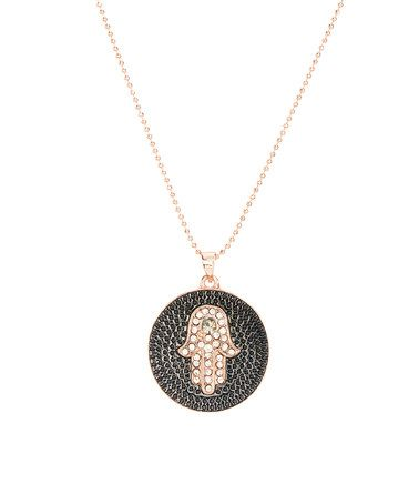 Another great find on #zulily! Rose Gold & Crystal Round Hamsa Pendant Necklace #zulilyfinds