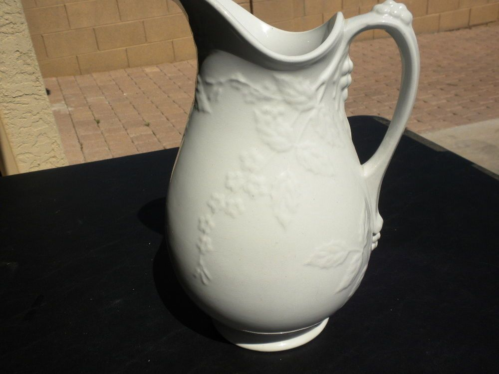 Vintage White Ironstone China pitcher by E & C Challinor, Fenton #China