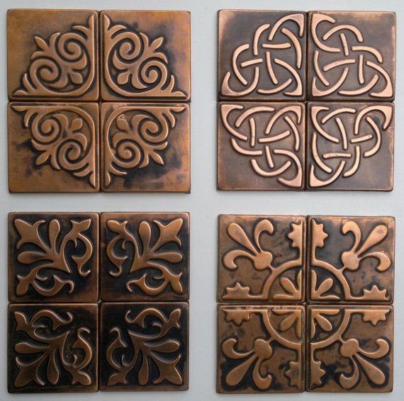 Copper Kitchen Backsplash SET OF 4 TILES Copper Decor Rustic Modern Cop