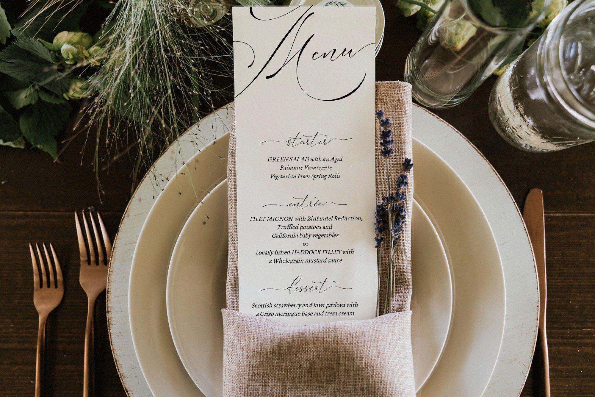 Wedding Menu Template. Printable Wedding Menu Template. Printable Menu. Menu Template. Editable Menu. Romantic Script. Edit with TEMPLETT #weddingmenutemplate