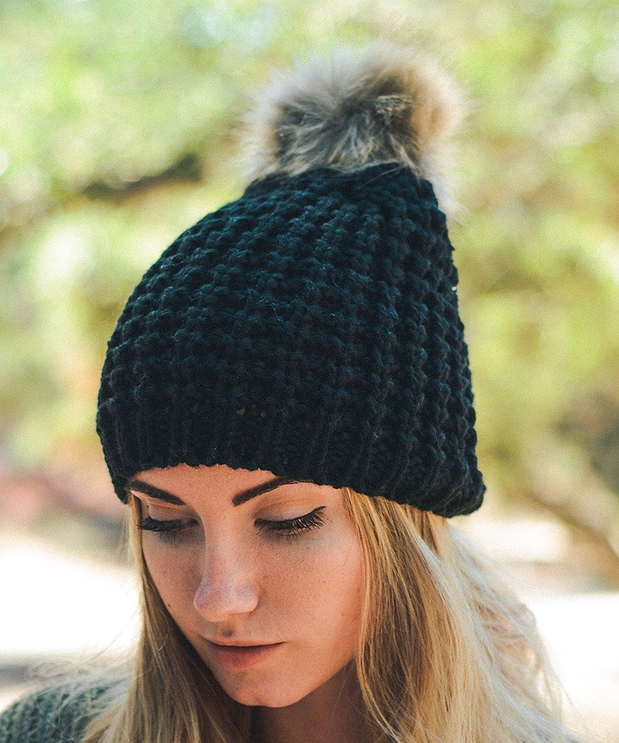 Look at this Black Cable-Knit Pom-Pom Beanie on #zulily today!