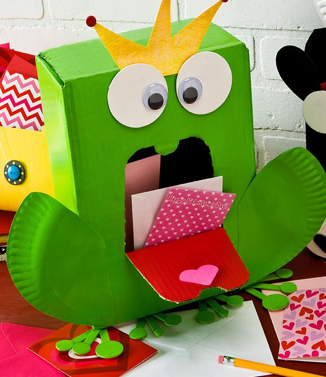 Apple Barrel Frog Prince Valentine Card Holder kids craft – Cereal Box Valentine Card Holder