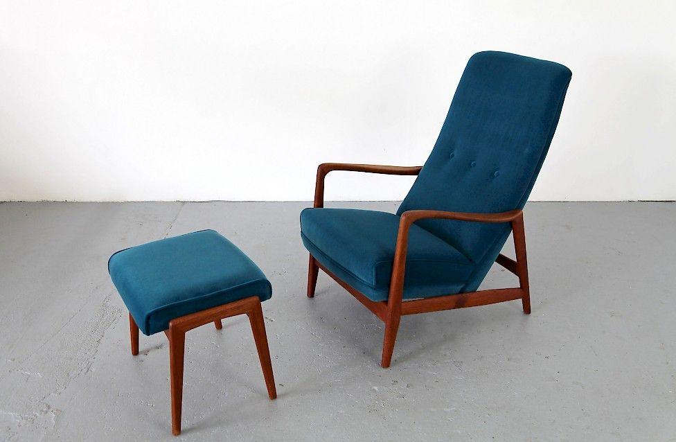 Teak Sessel Mit Ottomane Adore Modern Designer Gio Ponti