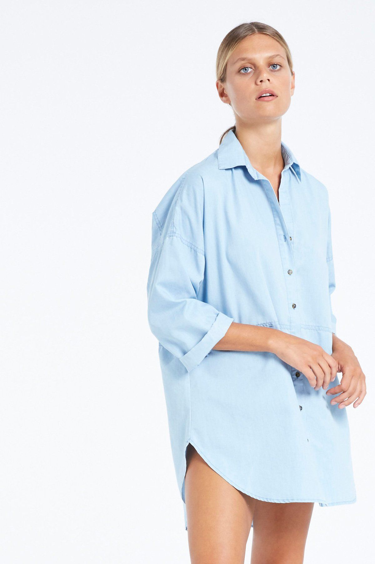 Plunge Shirt in Chambray Zulu u Zephyr GOLDEN Zulu Chambray and
