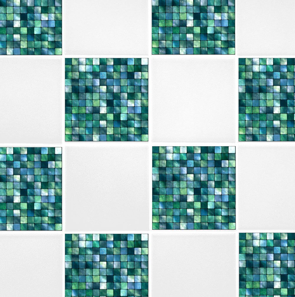 Green Blue Mosaic Tile Transfers 4 X 4 Printed Waterproof Vinyl - Blue-bathroom-tile-stickers