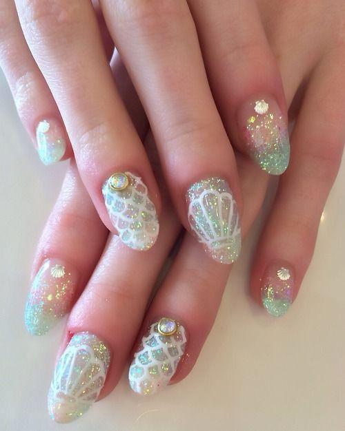 mermaid nails | Nail Art | Pinterest | Fiestas de xv años, Temas ...
