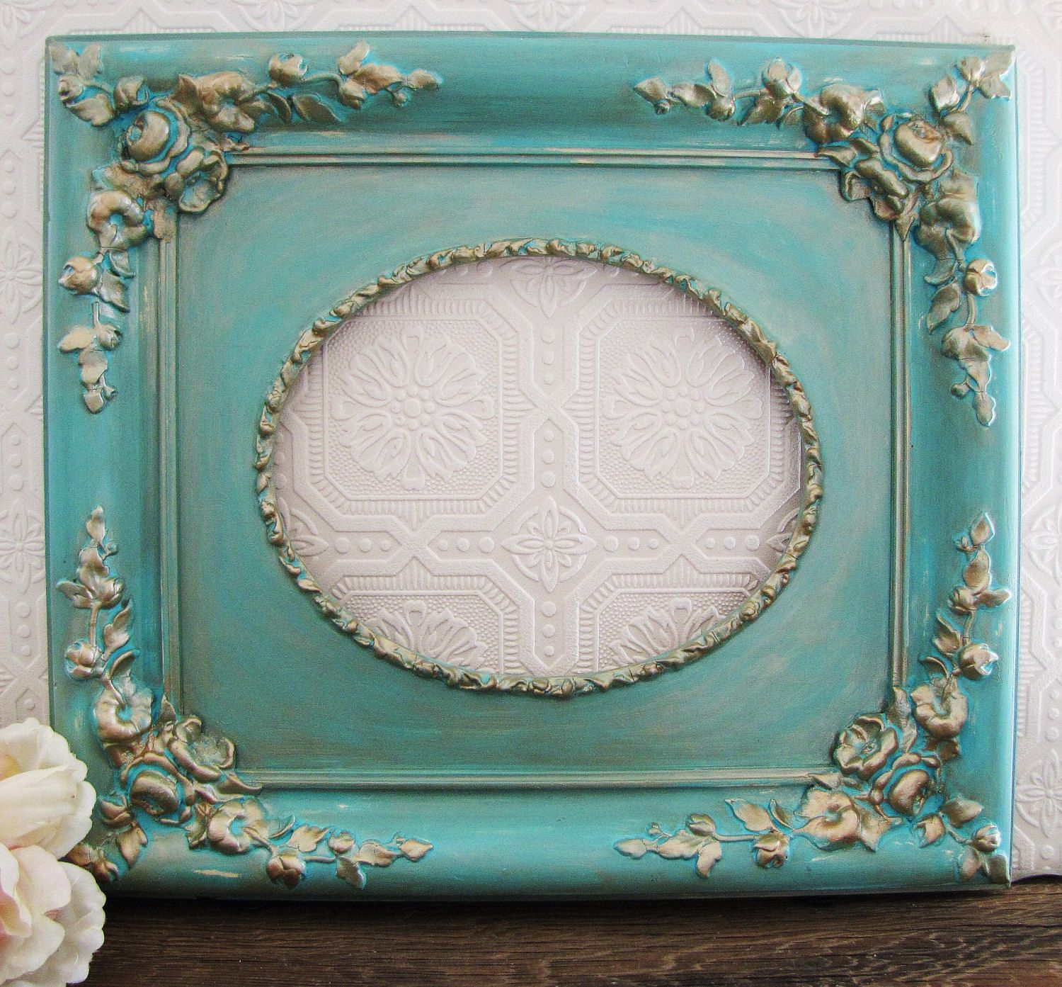Tiffany blue picture frame antique shabby chic wall decor blue tiffany blue picture frame antique shabby chic wall decor jeuxipadfo Image collections