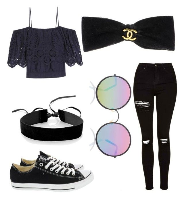 """""""⚡️🎓"""" by shannonapd on Polyvore featuring mode, Ganni, Simons, Converse, Topshop, Sunday Somewhere en Chanel"""