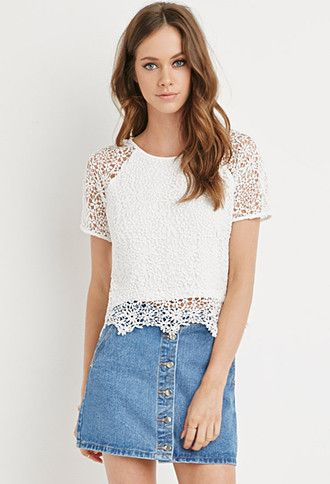 Scalloped Floral Crochet Top Forever 21 2000161826 Tops